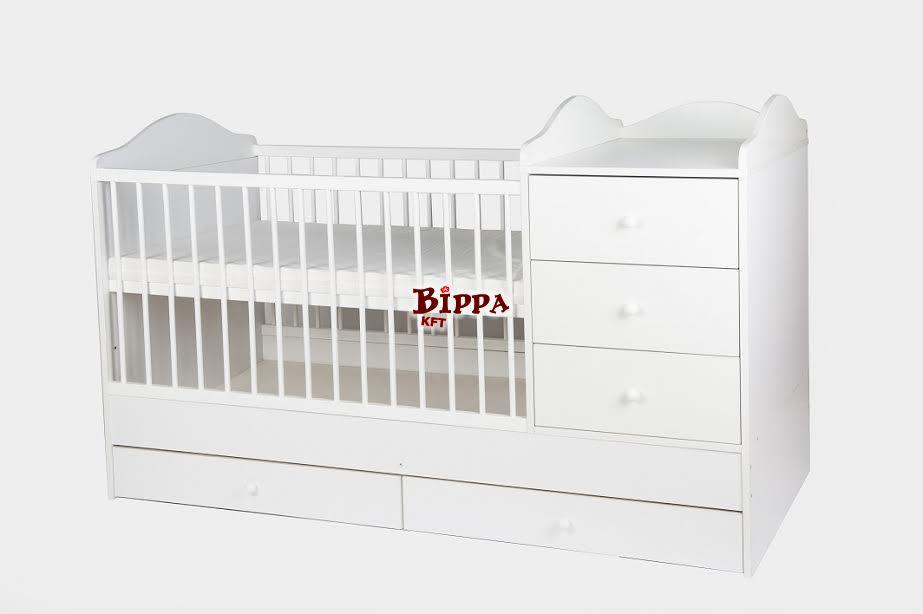 """""""WHITE-PEARL"""" Fiókos hófehér kókuszmatraccal 60x120cm pelenkázós ágy"""