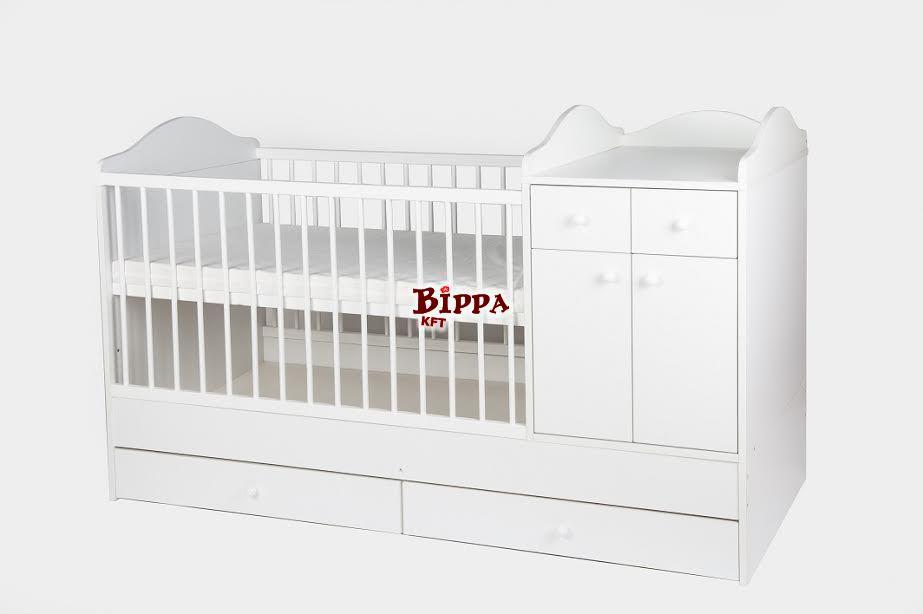 """""""WHITE-DREAM2"""" Hófehér Extra kombi 70x120 nagyméretű babaágy"""