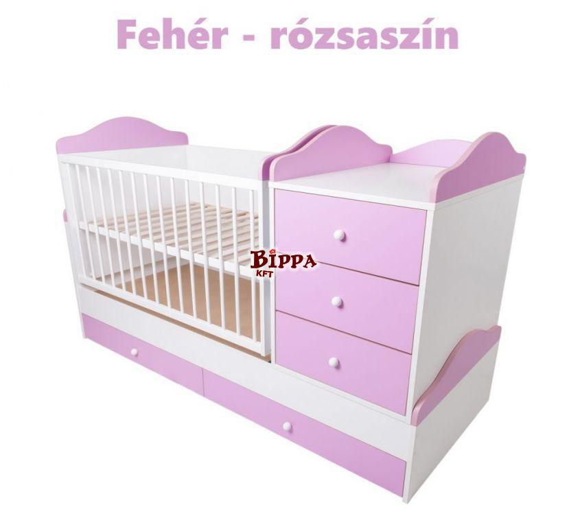 Ringatható babaágy rózsaszín-fehér színben