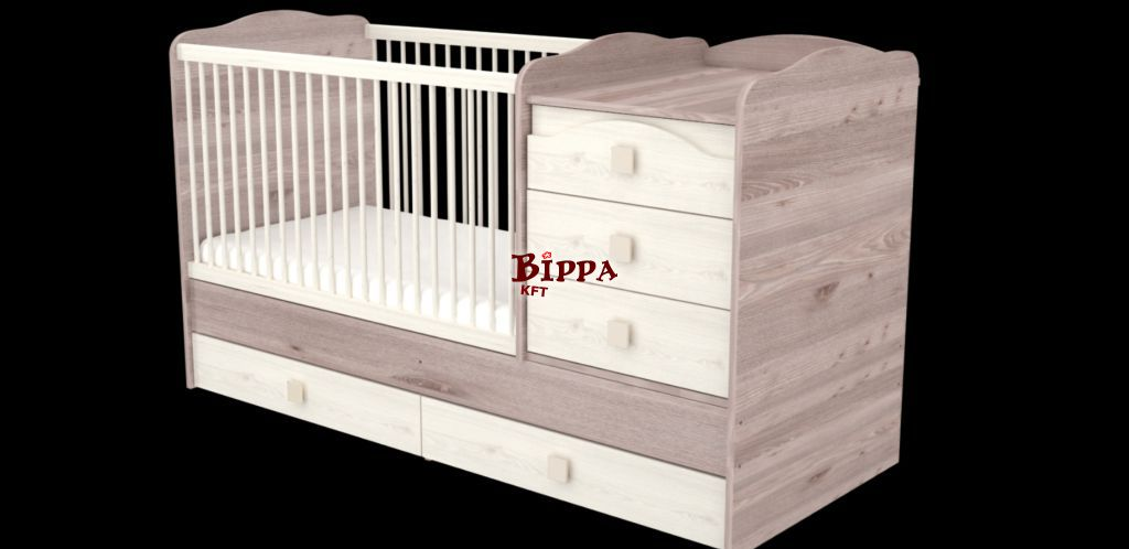 KRÉM-FŰZ 70x120 nagyméretű kombi babaágy