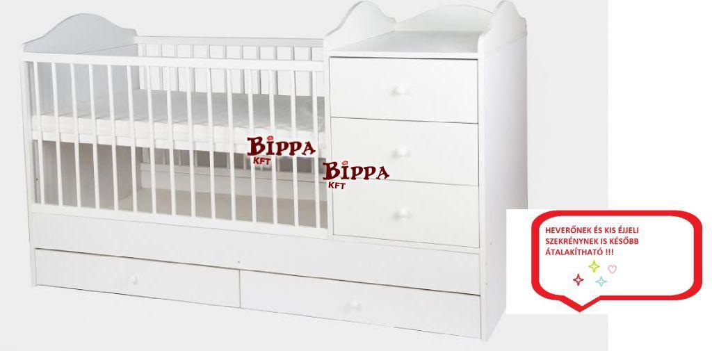 """""""WHITE-PEARL"""" Fiókos hófehér kókuszmatraccal❤ 60x120cm pelenkázós ágy"""