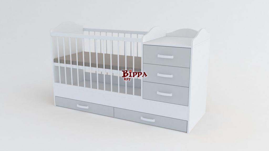 Szürke-Fehér kókuszmatraccal❤  LUX 60x120 Kombi babaágy