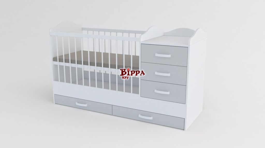 Szürke-Fehér nagyméretű EXTRA Kombi babaágy